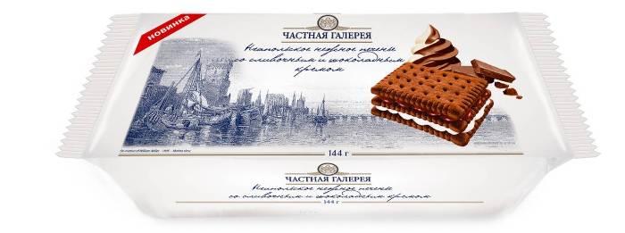 Неапольское нежное печенье со сливочным и шоколадным кремом   (18*144 г)
